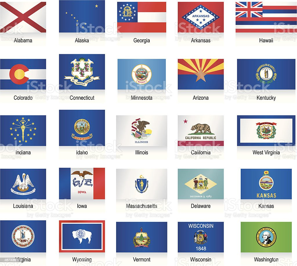 USA states flags collection vector art illustration
