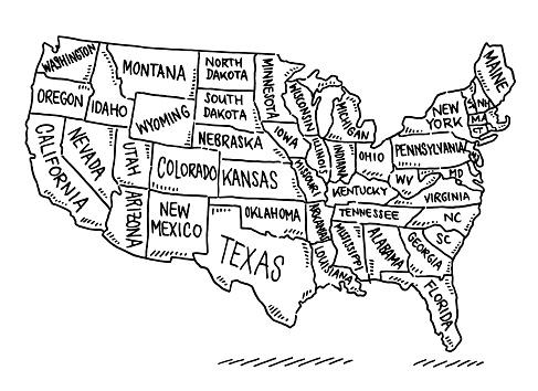 USA States Map Drawing