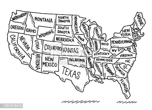 istock USA States Map Drawing 1257379470