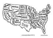 istock USA States Map Drawing 1257379470