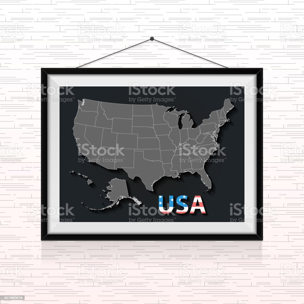 Usa states map in photo frame hanged on the wall stock vector art illinois map usa wood material world map usa states map in photo frame gumiabroncs Image collections