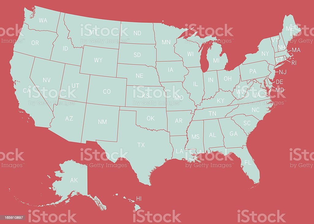 U.S. States Map royalty-free us states map stock vector art & more images of blue