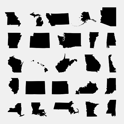 States of America territory on grey background