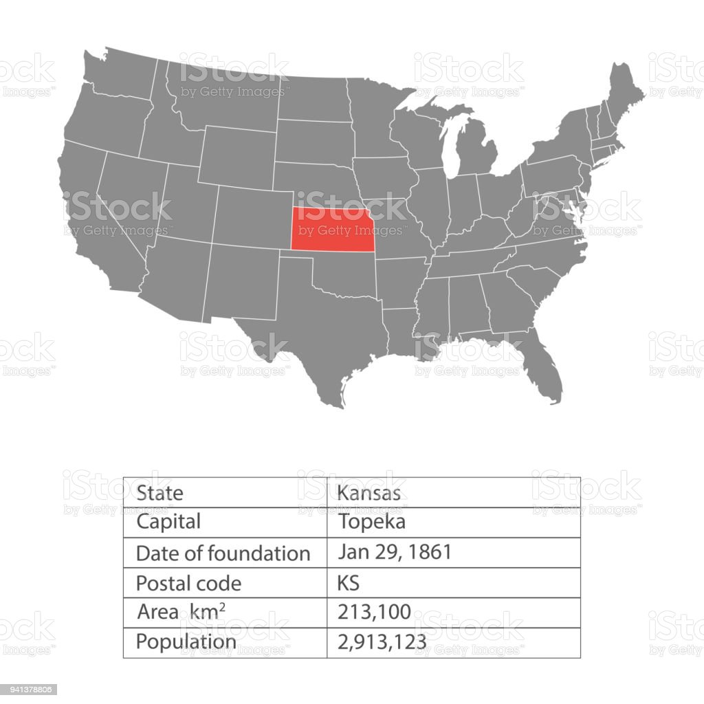 Map Of America Kansas.States Of America Territory On White Background Kansas Separate