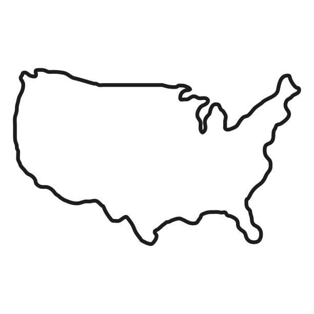 흰색 배경에 미국 영토의 상태입니다. 북미. 벡터 일러스트레이션 - 미국 stock illustrations
