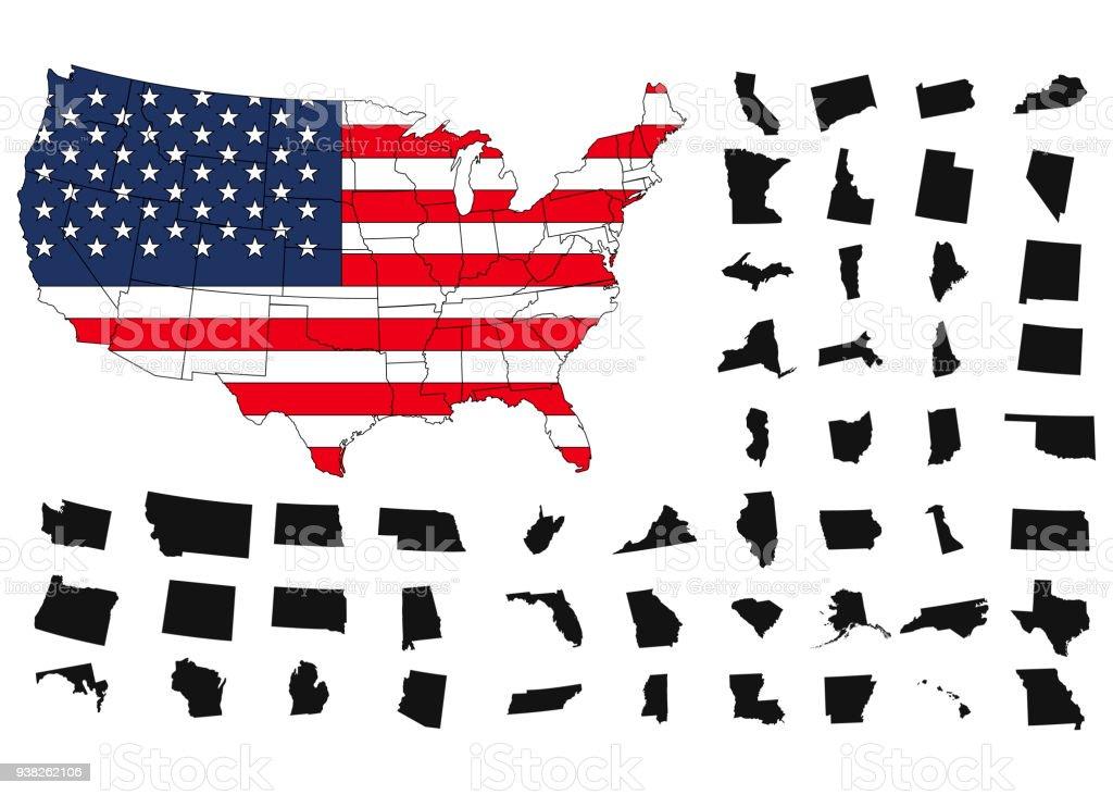 Ilustración de Territorio De Estados Unidos De América Sobre Fondo ...