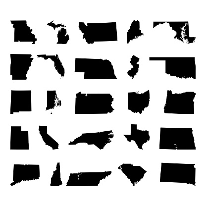 States of America territory on white background