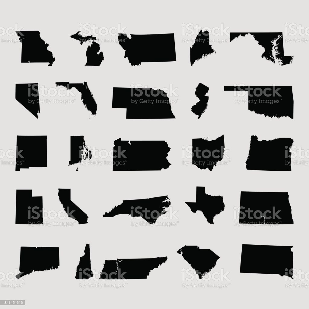 States of the United states vector art illustration