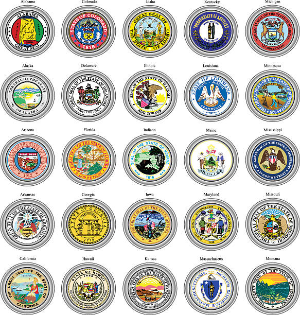 states of usa seals. - alabama stock illustrations