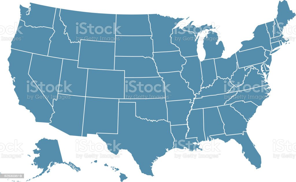States of USA vector art illustration