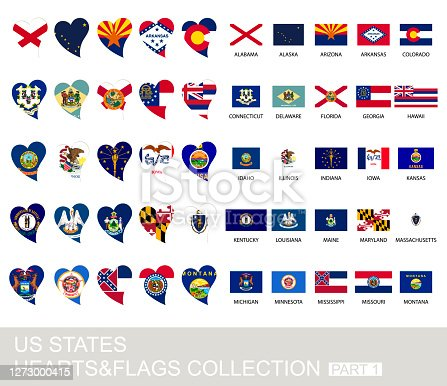 istock US states set, hearts and flags, part 1 1273000415