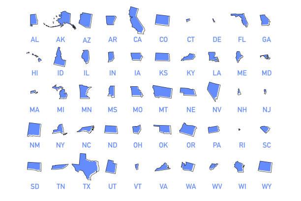 usa states vector illustration - alabama stock illustrations