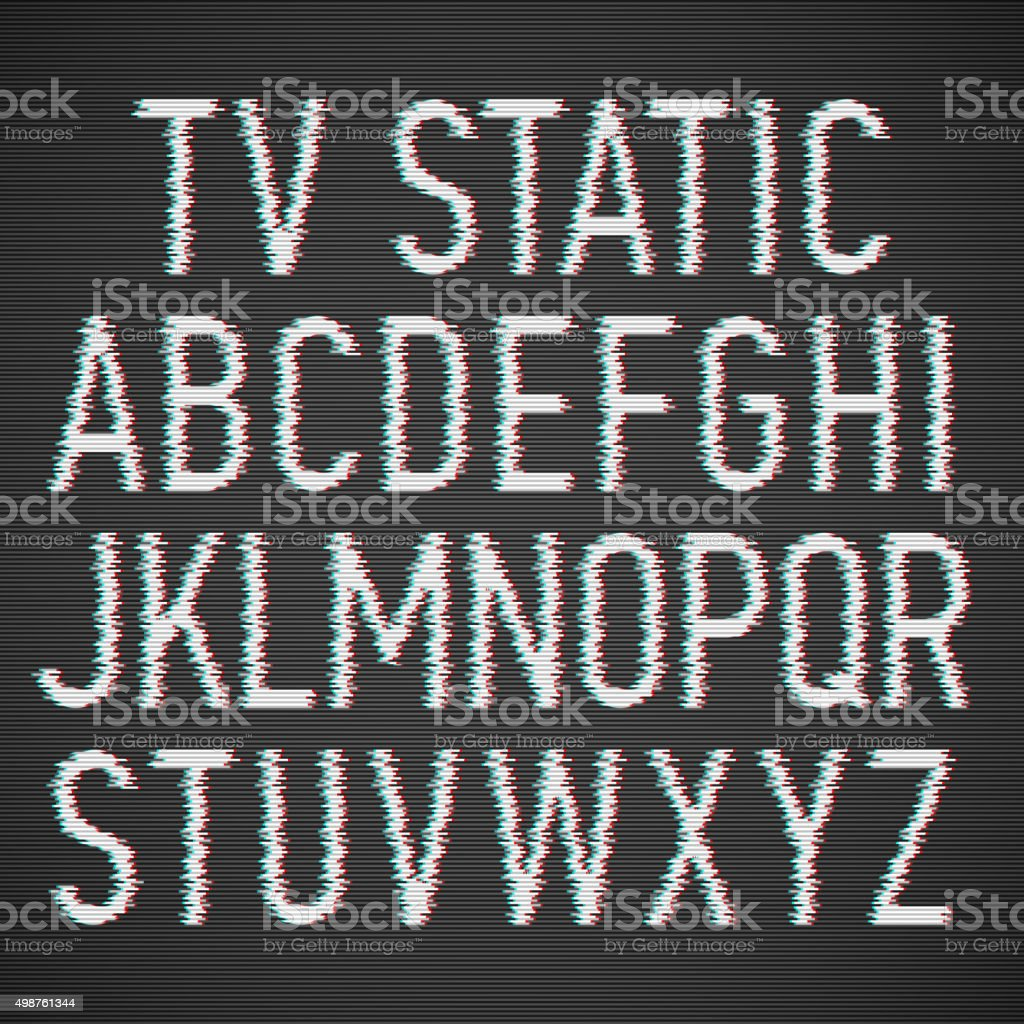 TV static effect font vector art illustration