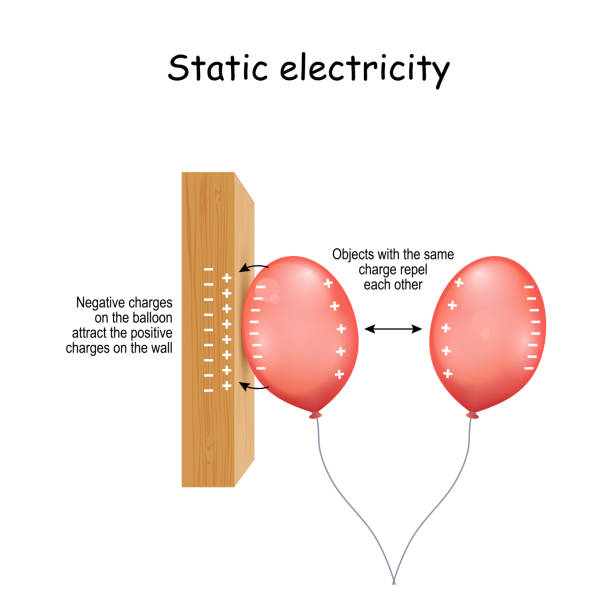 Static Electricity. wall and two balloons vector art illustration