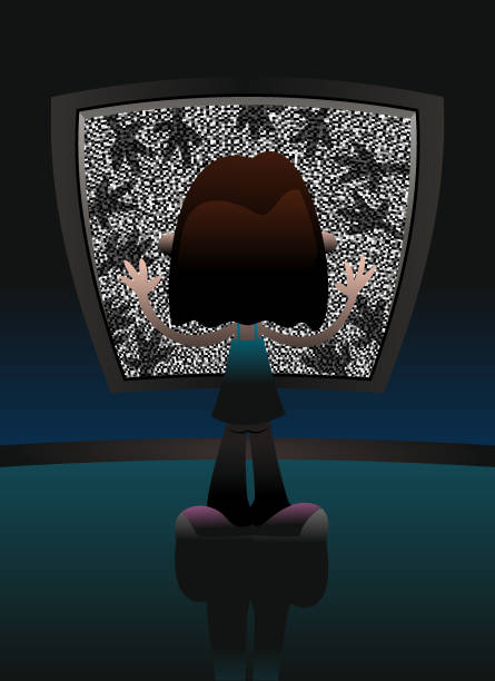 TV Static with Hands vector art illustration