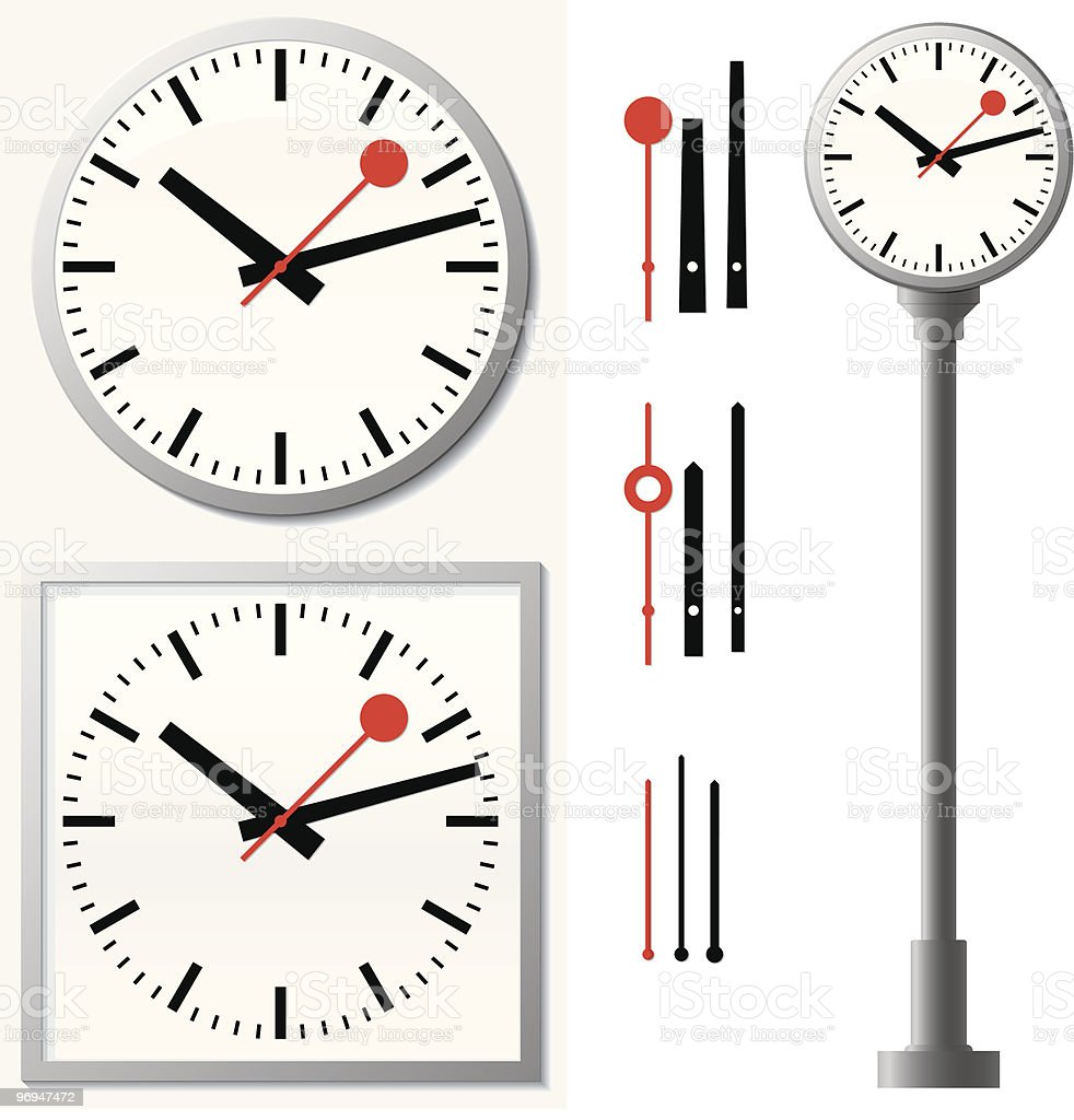 Station clock/wall clock royalty-free station clockwall clock stock vector art & more images of black color
