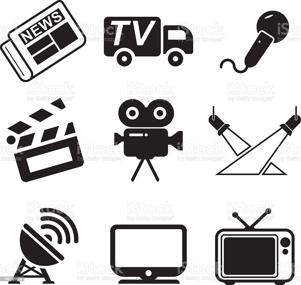 TV Station Icons vector art illustration