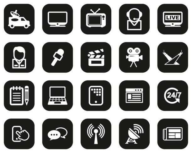 tv station icons weiß auf schwarz flach design set big - film oder fernsehvorführung stock-grafiken, -clipart, -cartoons und -symbole