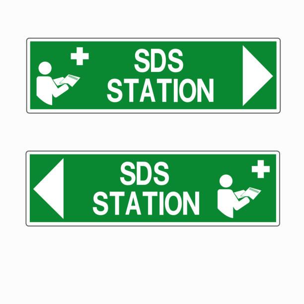 SDS Station Symbol Sign, Vector Illustration, Isolate On White Background Label .EPS10 vector art illustration