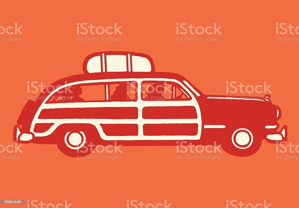 Station Wagon with Family Inside and Luggage on Top vector art illustration