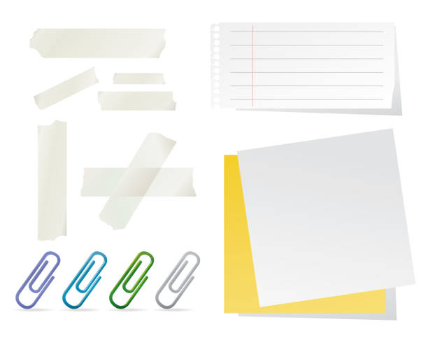Stationary Collection Paper, Post-its, Paper Clips and Adhesive Tapes on White Background Vector Illustration masking tape stock illustrations