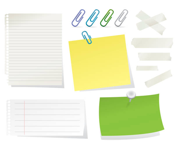 Stationary Collection Paper Sheets, Post-its, Paper Clips and Adhesive Tapes on White Background Vector Illustration masking tape stock illustrations