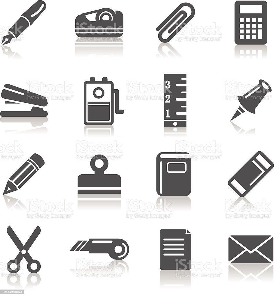 Stationary Icons vector art illustration