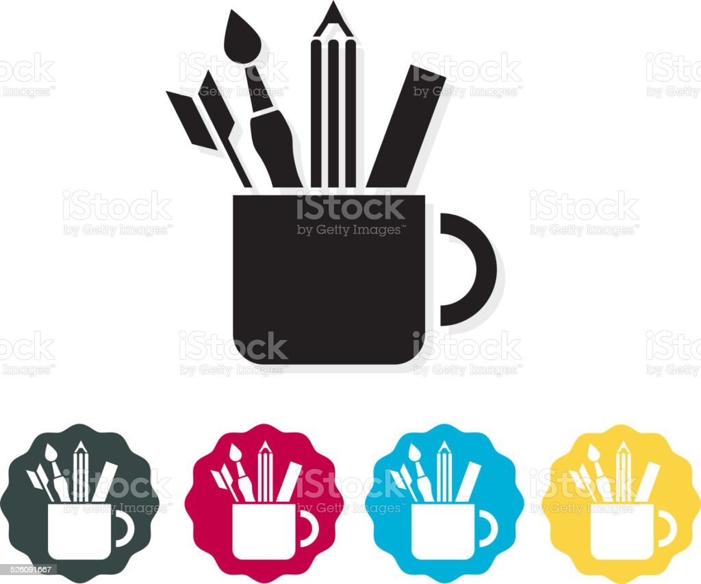 Stationary in a Cup icon vector art illustration