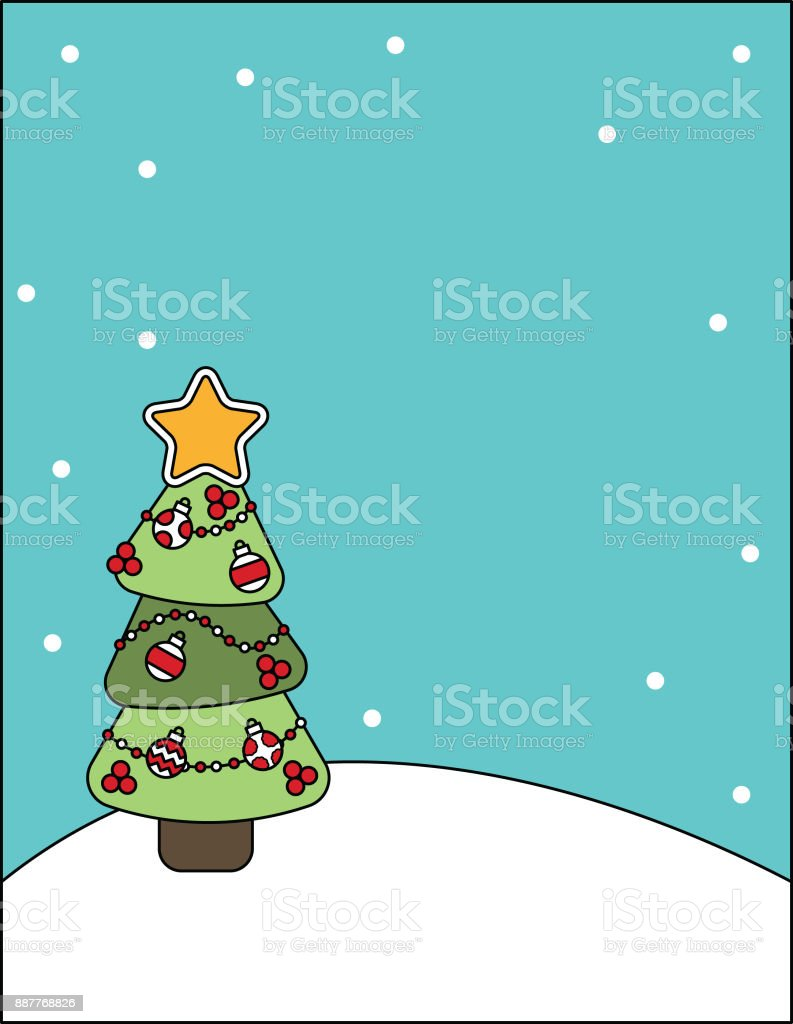 Stationary Print with a Decorated Christmas Tree vector art illustration