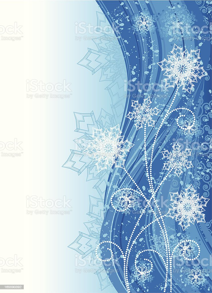 A stationary with blue and white wintery flowers royalty-free stock vector art