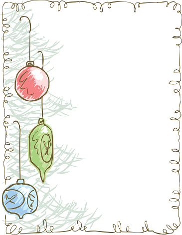Stationary with Christmas tree with ornaments