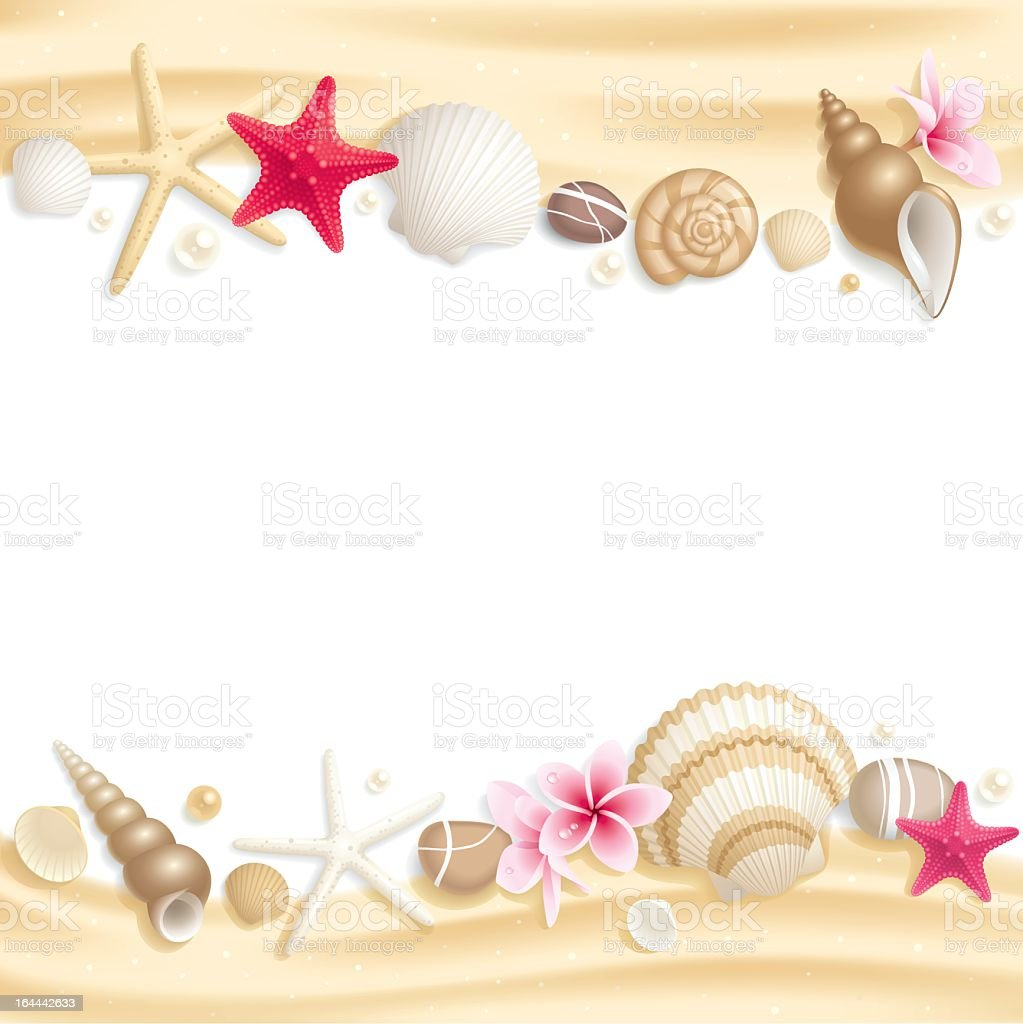 Stationary with seashells on top and bottom of page