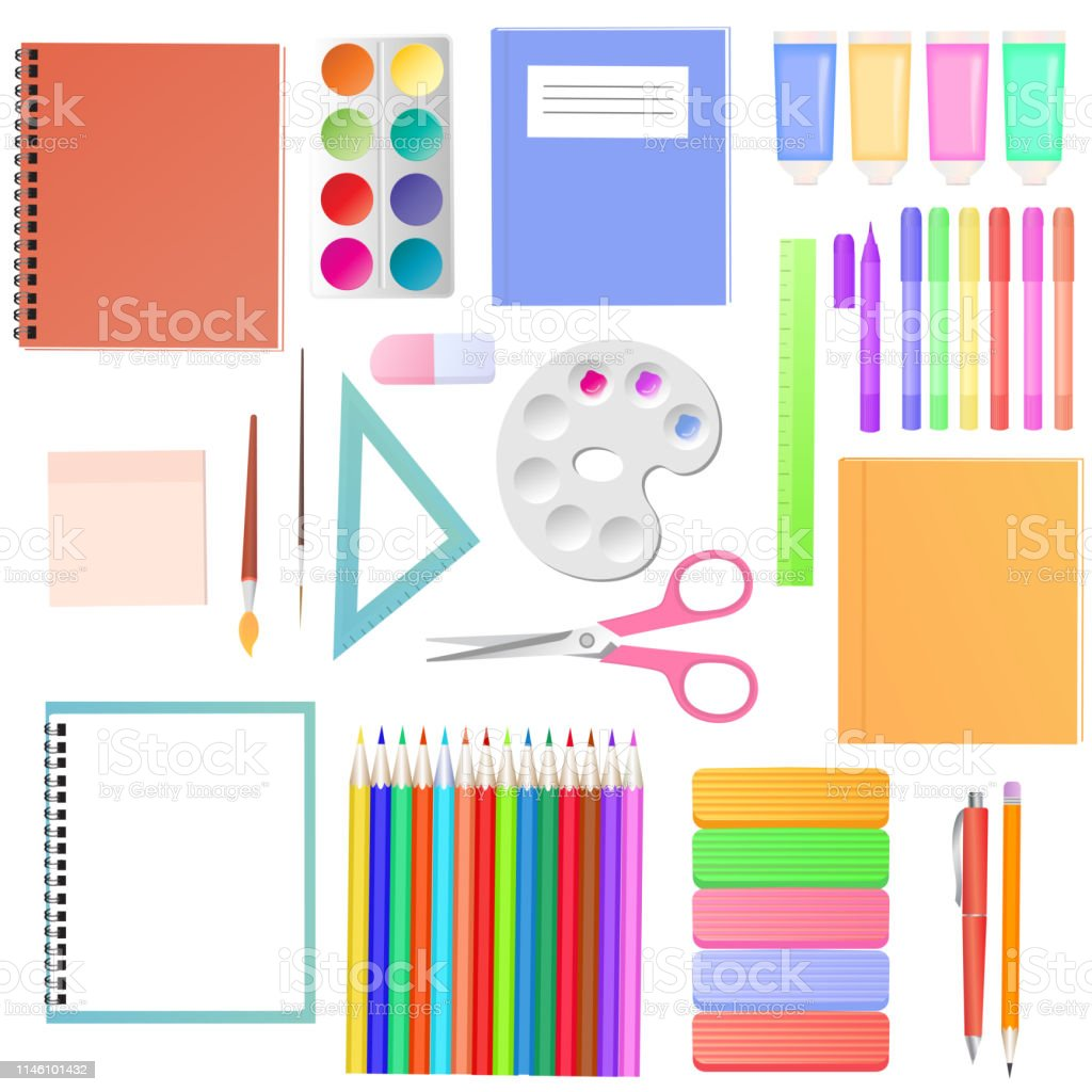 Stationery. A set of school supplies for students. Art materials for...