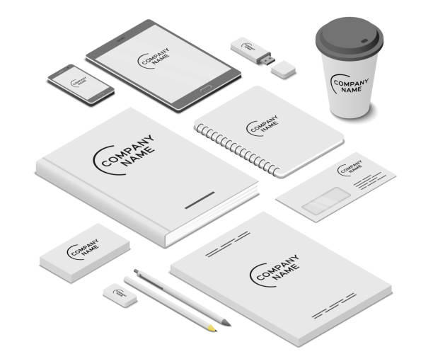 Stationery and accessories mock-up with template logo. Branding design. Mobile app, flash drive, book, paper cup, writing pad, business cards, letter envelope, leaflets, pen, pencil and eraser. Isometric vector illustration Stationery and accessories mock-up with template logo. Branding design. Mobile app, flash drive, book, paper cup, writing pad, business cards, letter envelope, leaflets, pen, pencil and eraser. Isometric vector illustration stationery templates stock illustrations