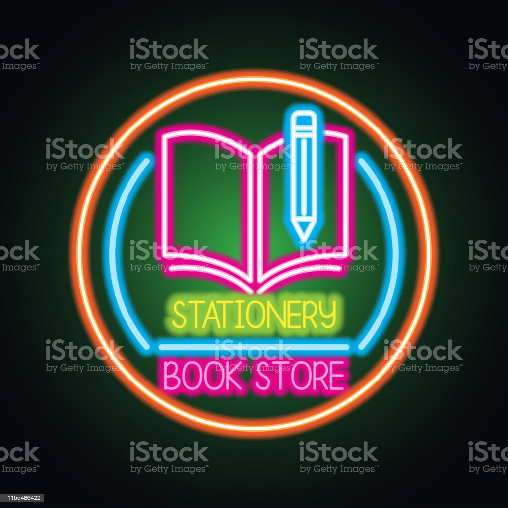 stationery and book store neon sign for stationery and book...