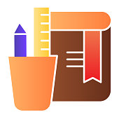 Stationery and notebook flat icon. School or office supply, book and cup with pencil and ruler. Education vector design concept, gradient style pictogram on white background