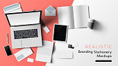 Stationery and office branding objects mockup template with a notebook, paper objects and smartphone. Vector illustration.