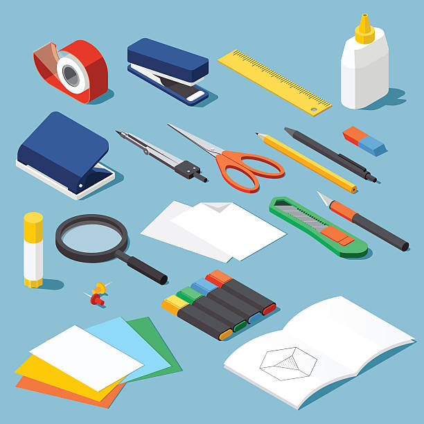 stationery and tools set - office supply stock illustrations