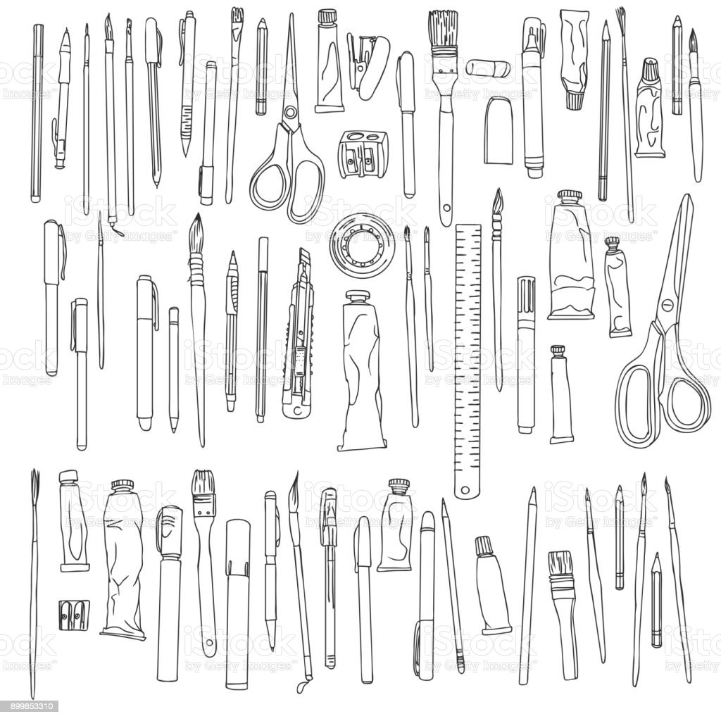 stationery, art materials vector art illustration