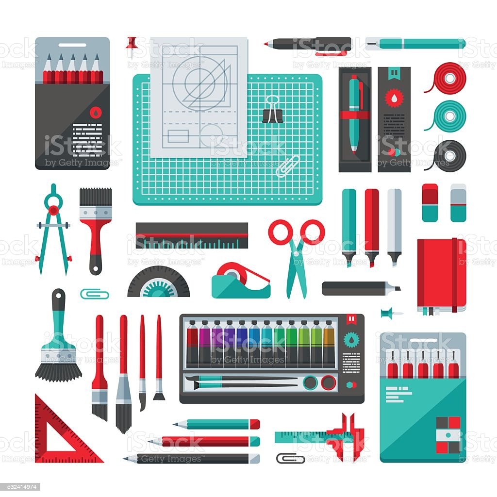 Stationery & Art Supplies Set vector art illustration