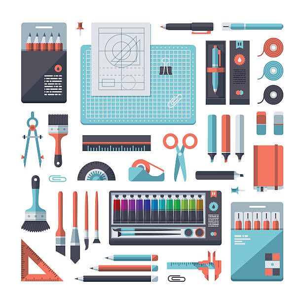 stationery & art supplies set - office supply stock illustrations