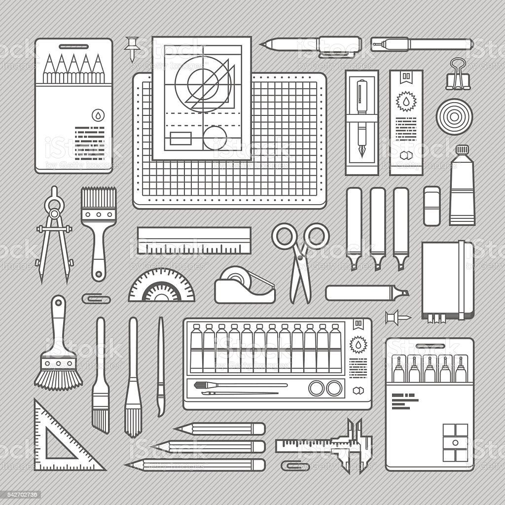 Stationery Art Supplies Set Royalty Free Stock Vector