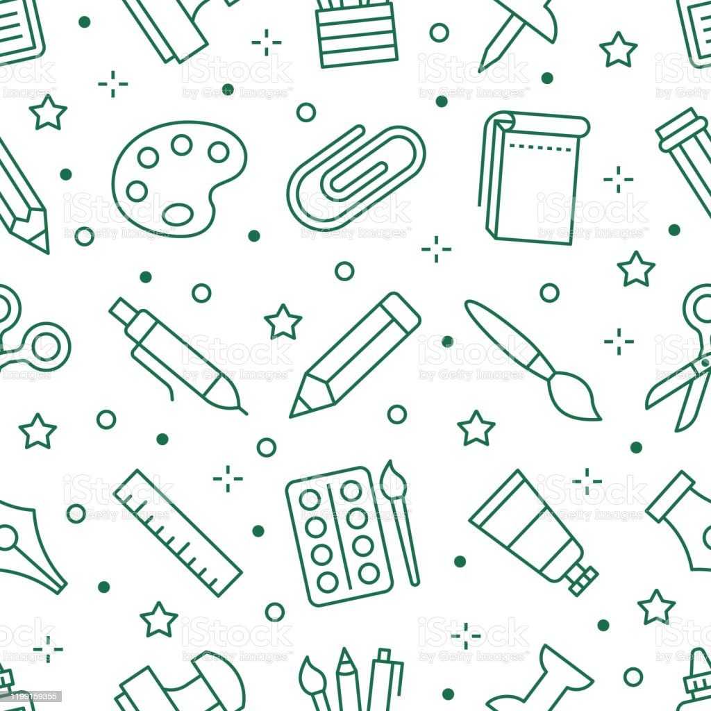 Stationery Background School Tools Seamless Pattern Art Education Wallpaper With Line Icons Of Pencil Pen Paintbrush Palette Notebook Painter Supplies Vector Illustration Green White Color Stock Illustration Download Image Now Istock
