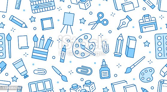 Stationery background, school tools seamless pattern. Art education wallpaper with line icons of pencil, pen, paintbrush, palette, easel. Painter supplies vector illustration blue white color.