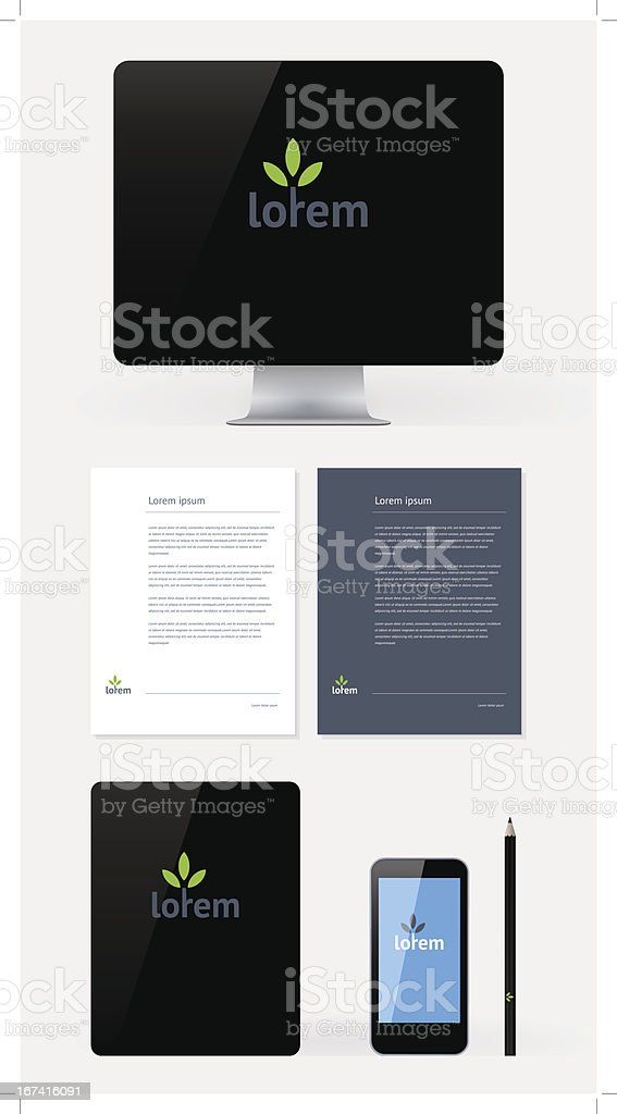 Stationery, Branding Mock-Up template royalty-free stock vector art