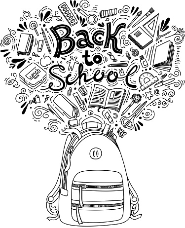 Stationery collection. Outline style. Back to school thin line vector doodle illustration template isolated on white background. Sketchy vector concepts with stationery for graphic design, web banner and printed materials. Back to school. Writing