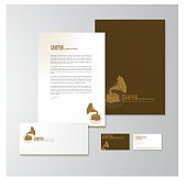 Stationery design with a gramophone logo. Letterhead, folder, envelope and business card with logo. All design elements are layered and grouped. Eps10, contains transparent objects.