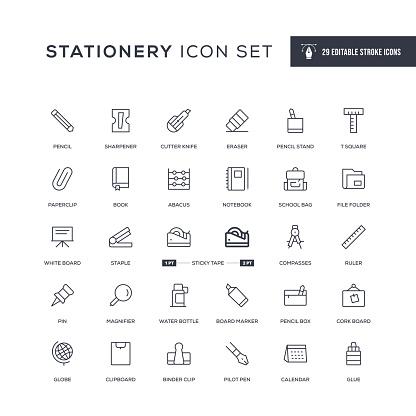 Stationery Editable Stroke Line Icons