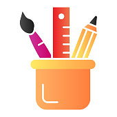 Stationery flat icon. Drawing tools in cup color icons in trendy flat style. Pencil, brush and ruler gradient style design, designed for web and app. Eps 10