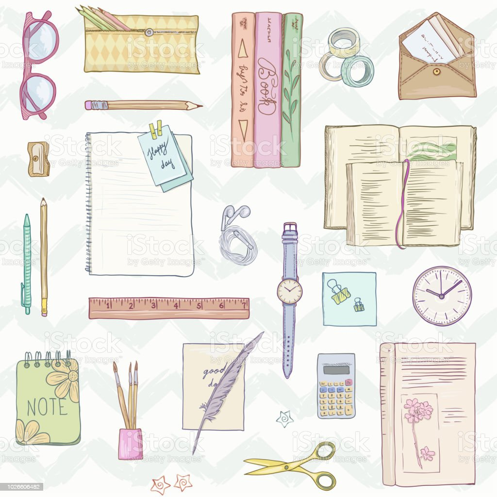 Stationery flat lay, books, background studying, creative lifestyle, planning Seamless pattern Hand drawn illustration pastel colors vector art illustration